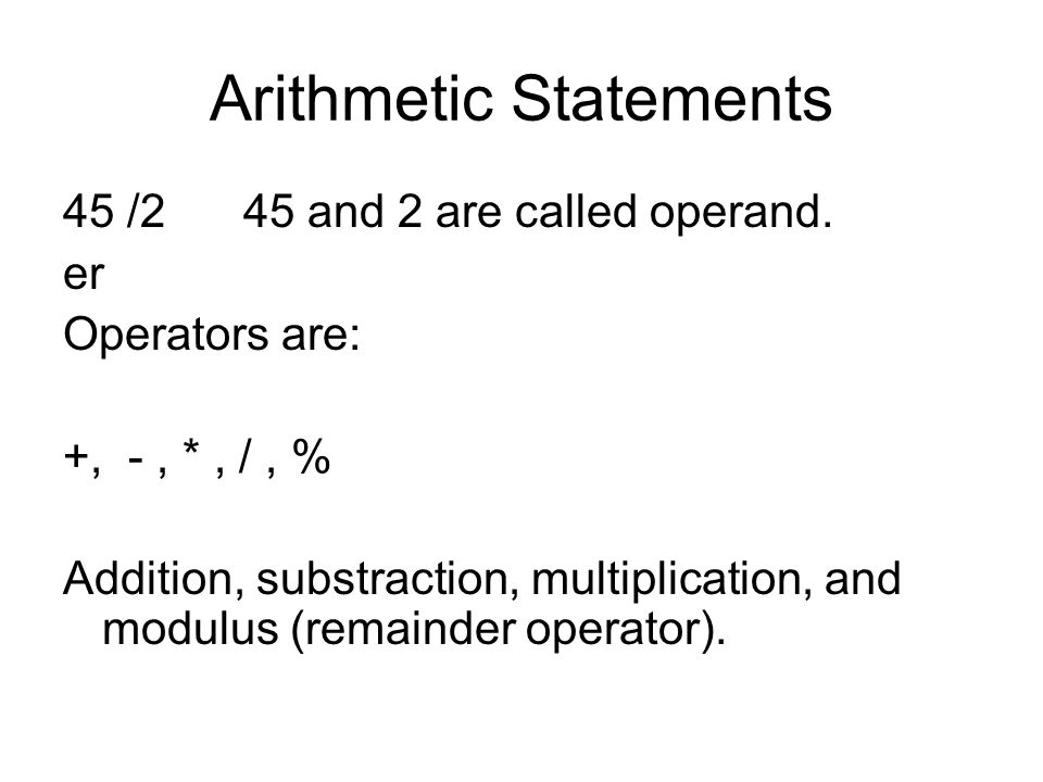 Arithmetic Statements