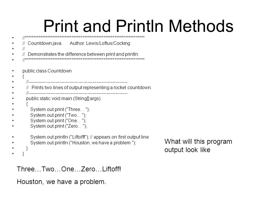 Print and Println Methods