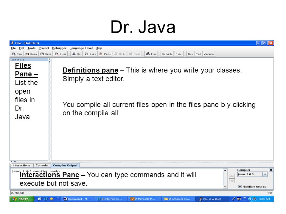 Dr. Java Files Pane – List the open files in Dr. Java