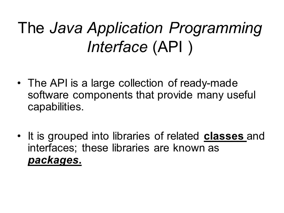 The Java Application Programming Interface (API )