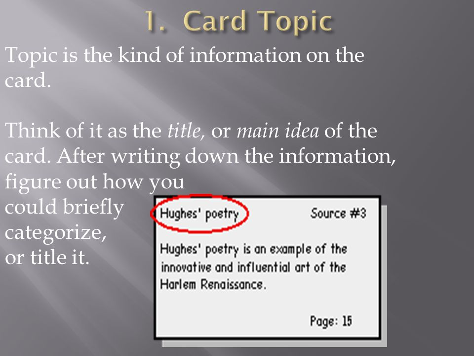 1. Card Topic Topic is the kind of information on the card.