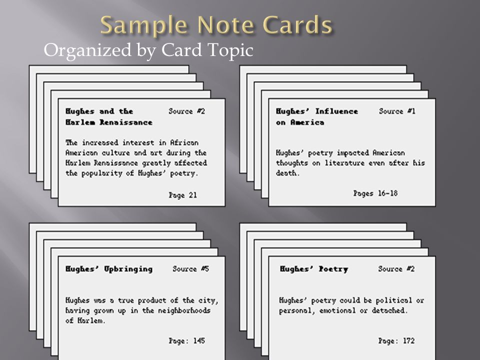 Sample Note Cards Organized by Card Topic