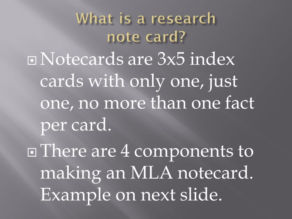 What is a research note card