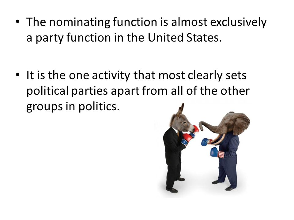 The nominating function is almost exclusively a party function in the United States.