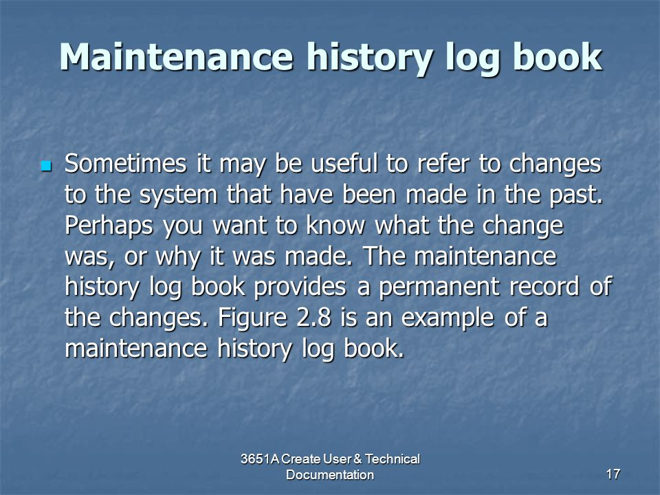 Maintenance history log book