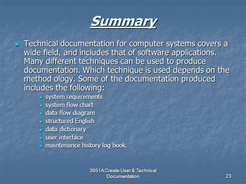 3651A Create User & Technical Documentation