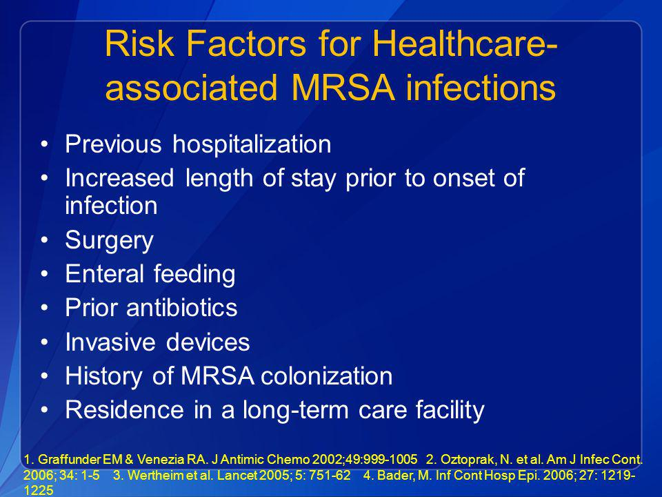 Risk Factors for Healthcare- associated MRSA infections