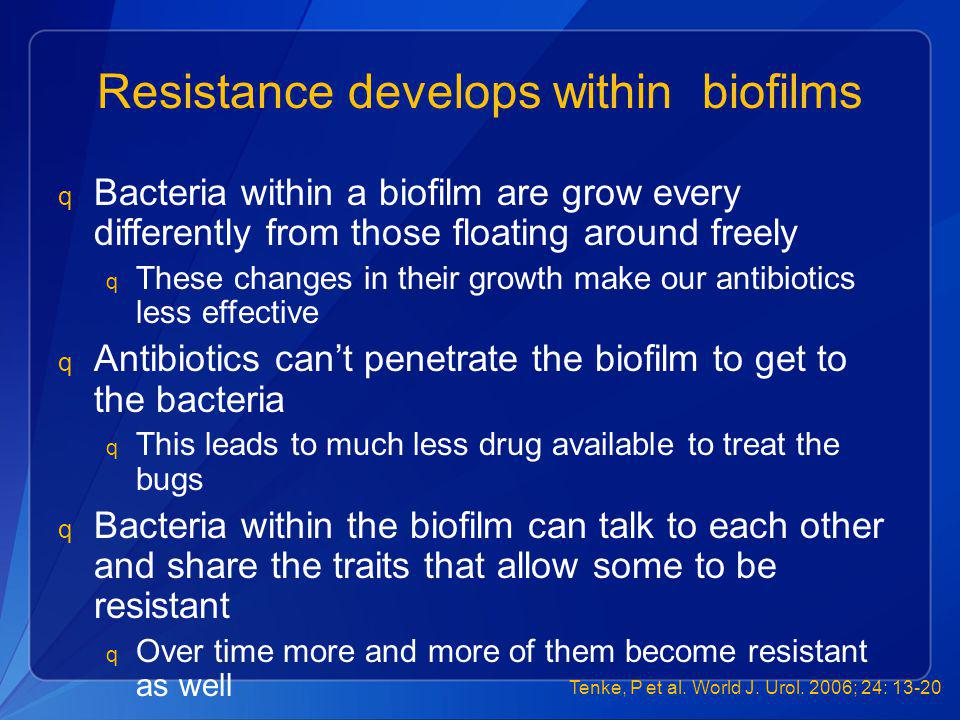 Resistance develops within biofilms