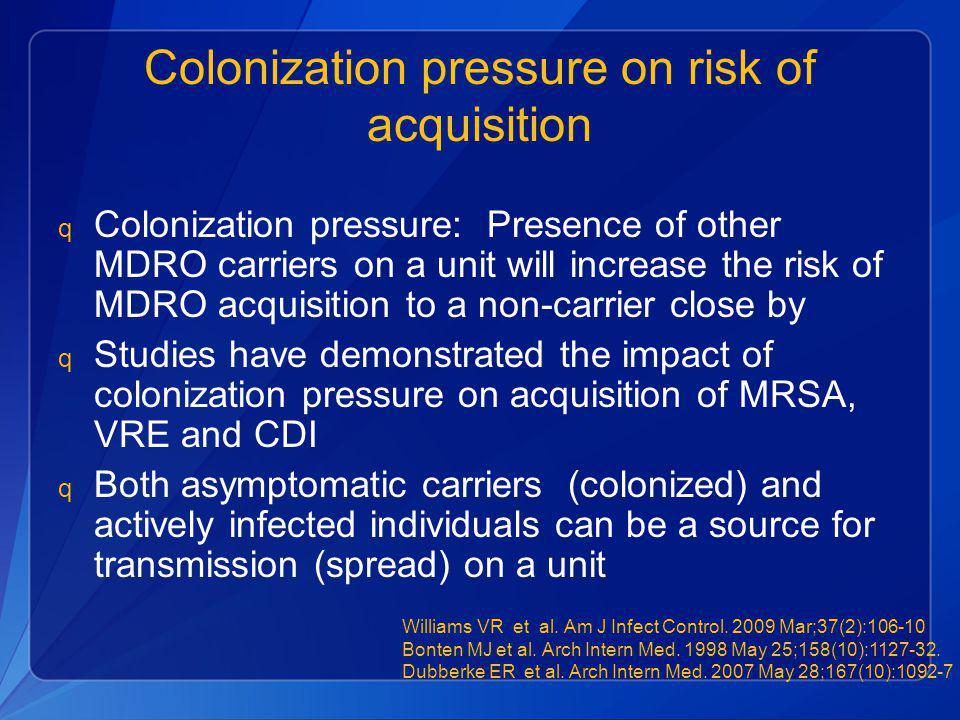 Colonization pressure on risk of acquisition