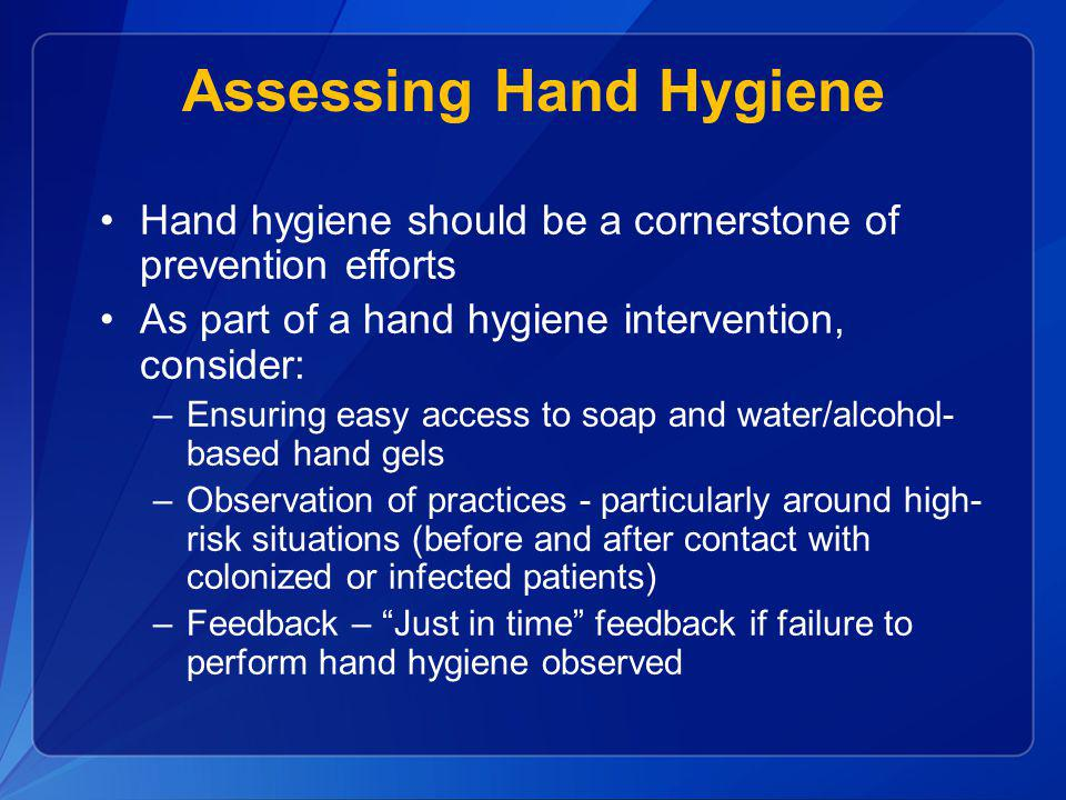 Assessing Hand Hygiene