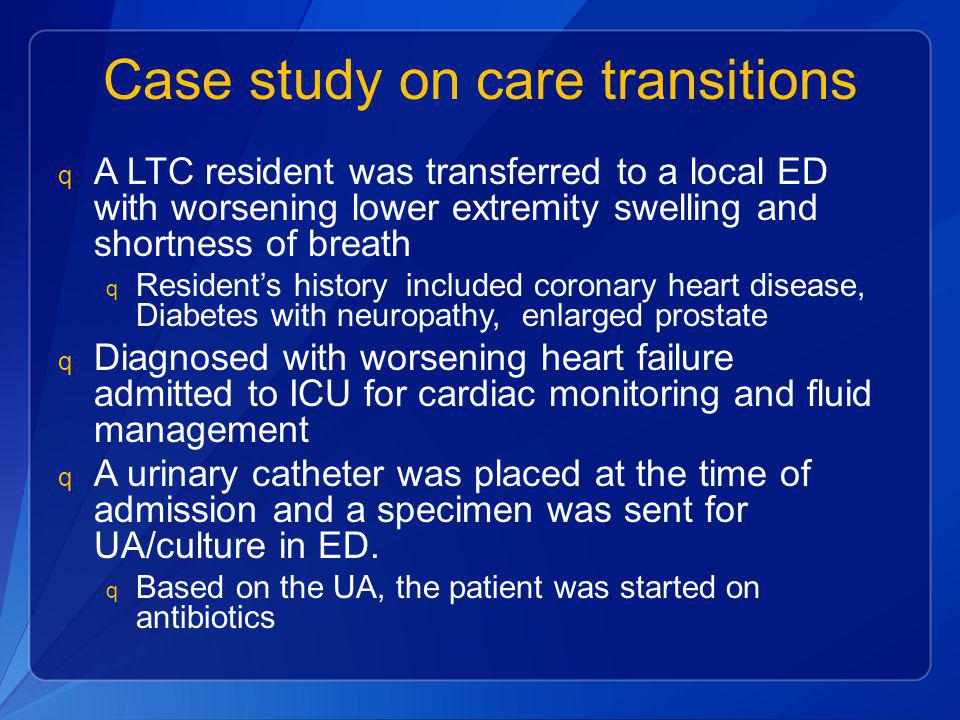 Case study on care transitions