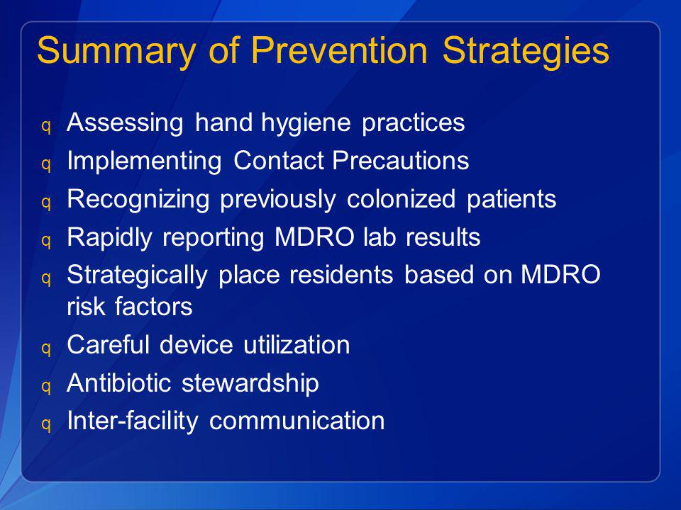 Summary of Prevention Strategies