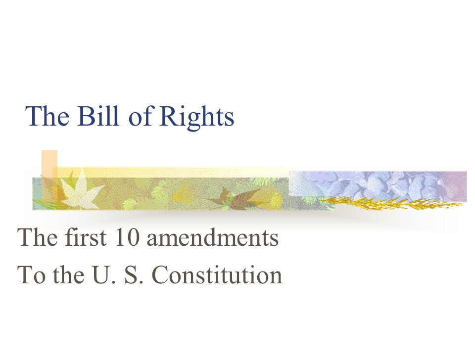 The first 10 amendments To the U. S. Constitution