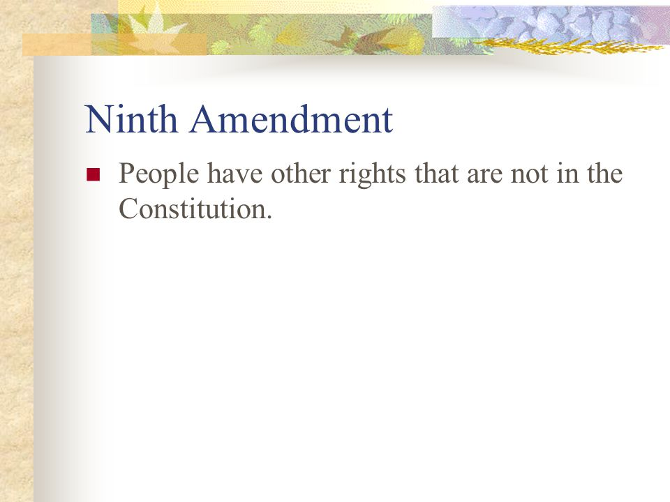 Ninth Amendment People have other rights that are not in the Constitution.