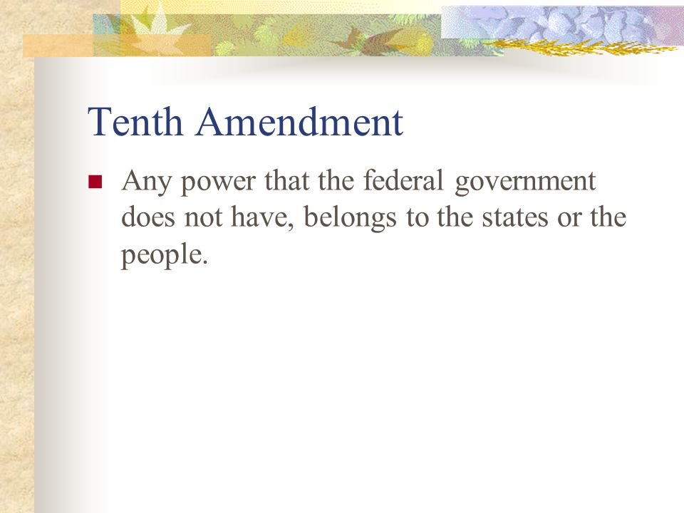 Tenth Amendment Any power that the federal government does not have, belongs to the states or the people.