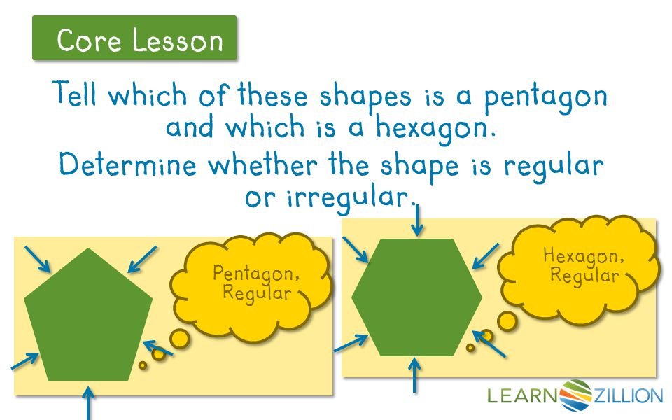 Tell which of these shapes is a pentagon and which is a hexagon.