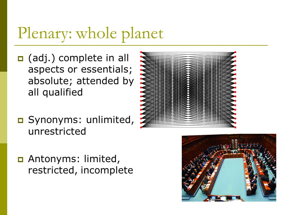 Plenary: whole planet (adj.) complete in all aspects or essentials; absolute; attended by all qualified.