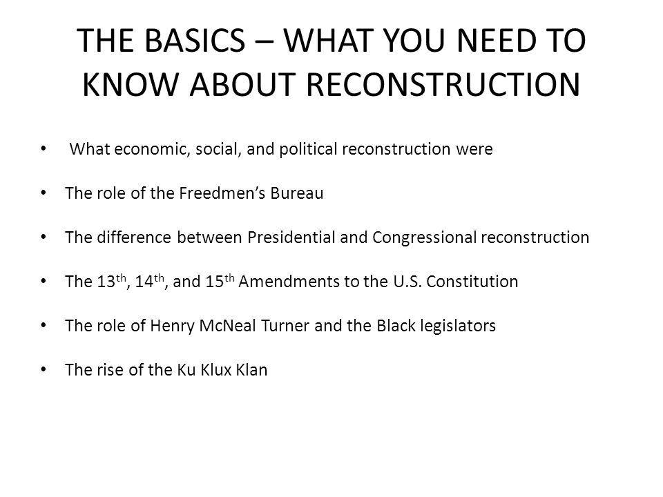 THE BASICS – WHAT YOU NEED TO KNOW ABOUT RECONSTRUCTION