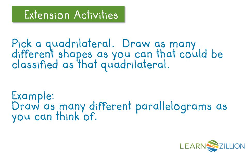 Draw as many different parallelograms as you can think of.