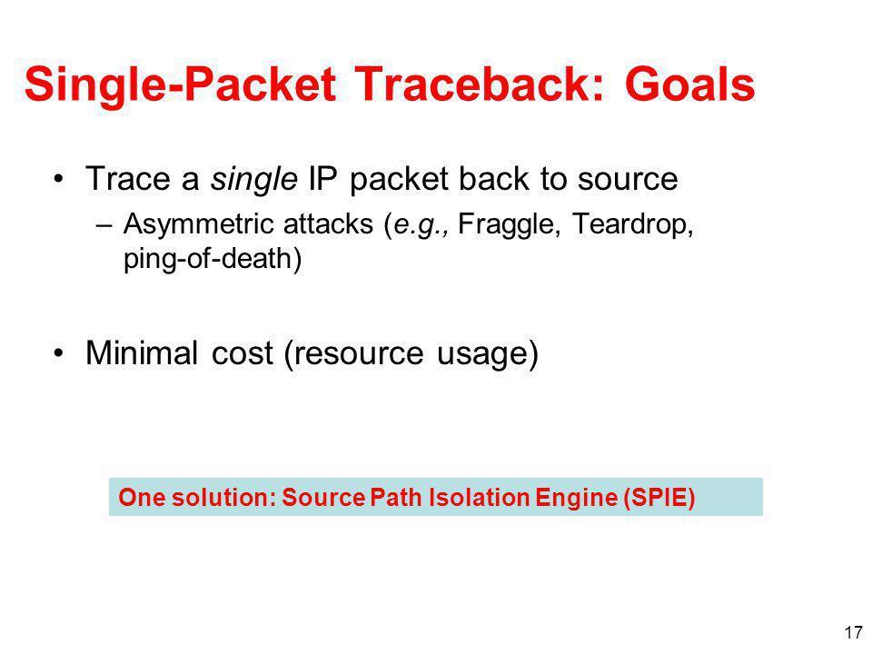 Single-Packet Traceback: Goals