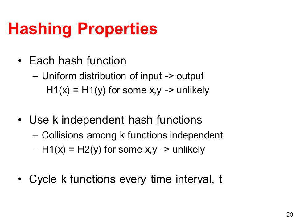Hashing Properties Each hash function Use k independent hash functions