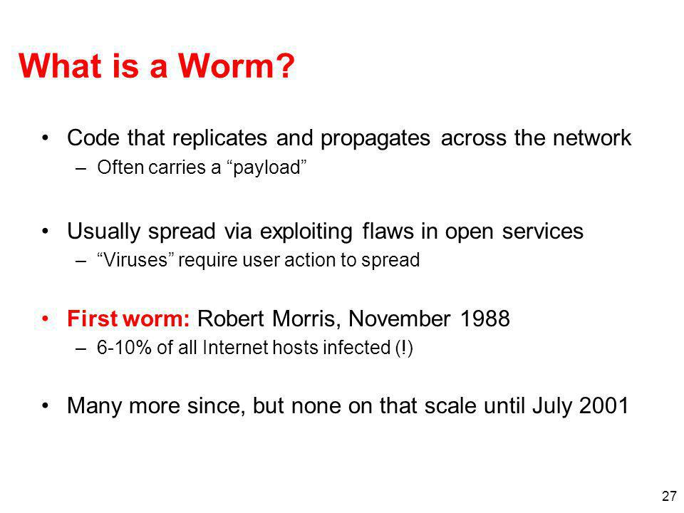 What is a Worm Code that replicates and propagates across the network