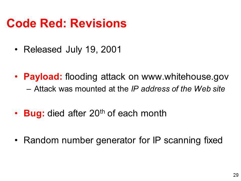 Code Red: Revisions Released July 19, 2001