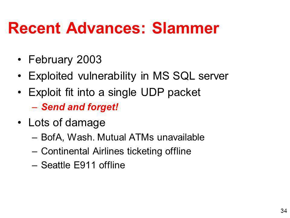 Recent Advances: Slammer