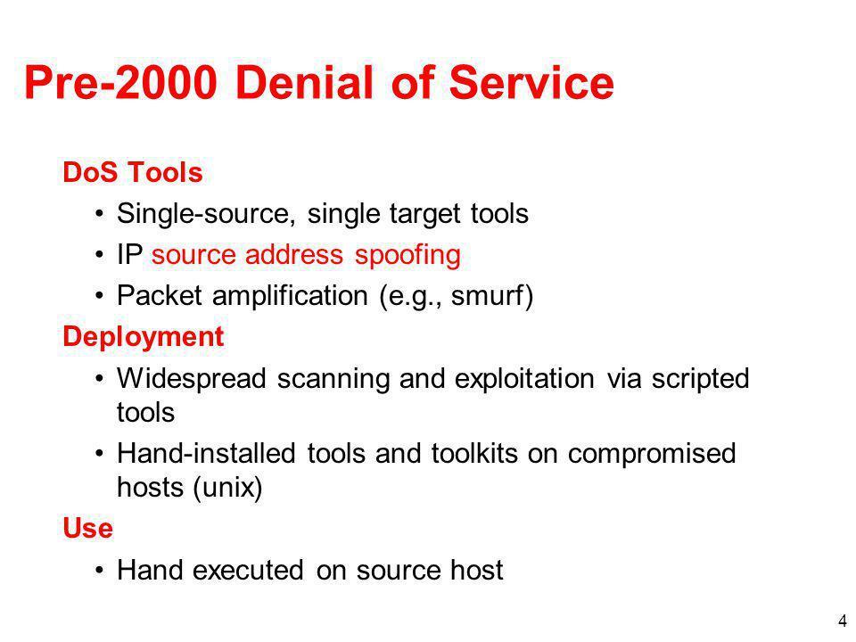 Pre-2000 Denial of Service DoS Tools