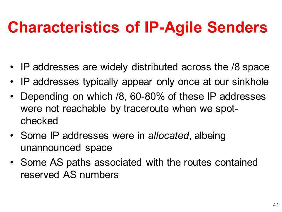 Characteristics of IP-Agile Senders