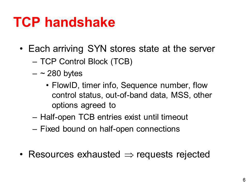 TCP handshake Each arriving SYN stores state at the server