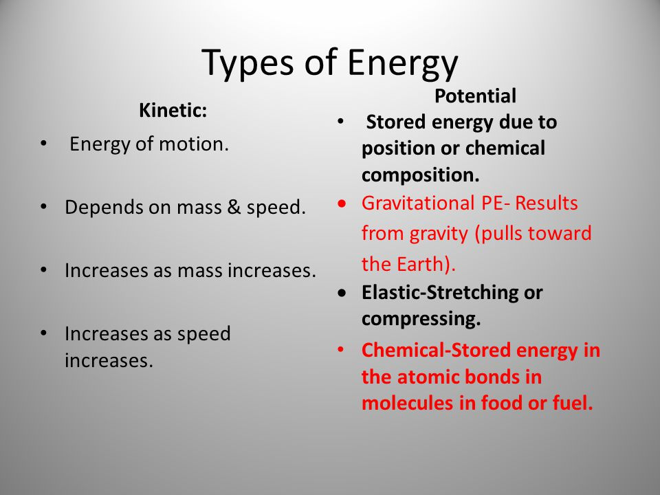 Types of Energy Potential Kinetic: