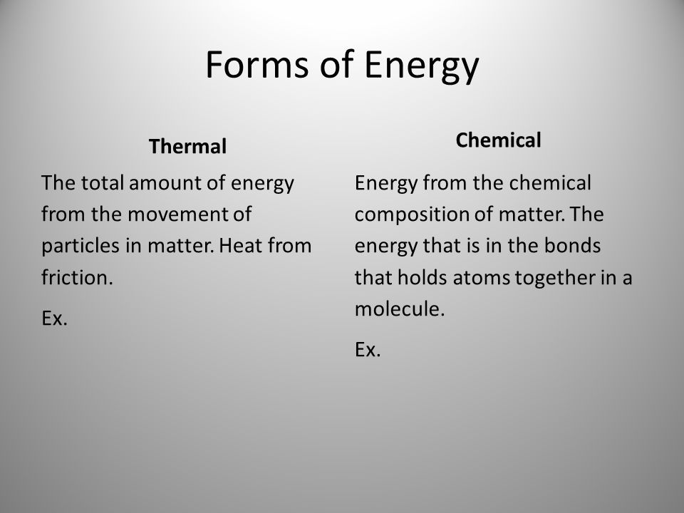 Forms of Energy Thermal Chemical