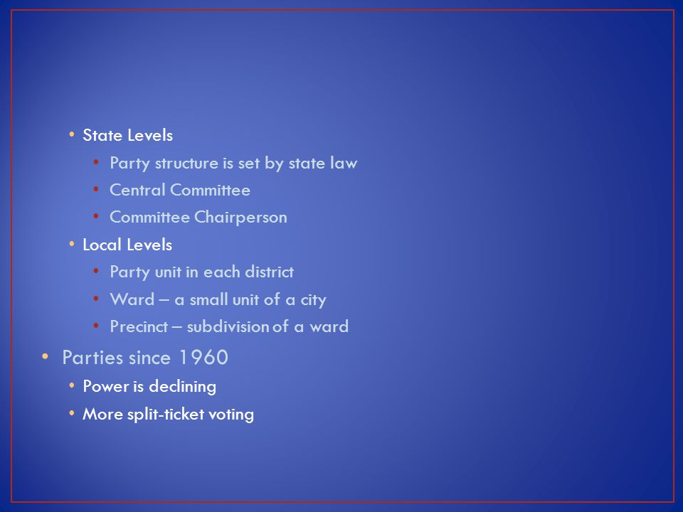 Parties since 1960 State Levels Party structure is set by state law