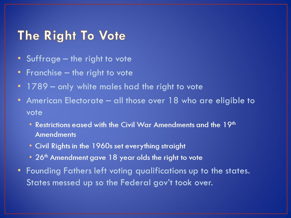 The Right To Vote Suffrage – the right to vote