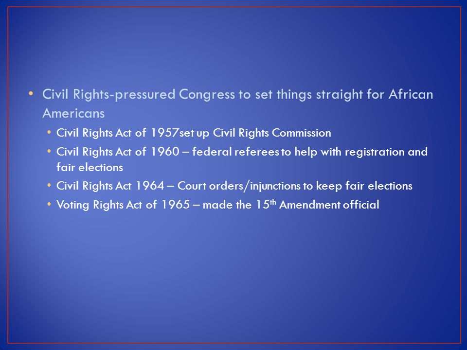 Civil Rights-pressured Congress to set things straight for African Americans