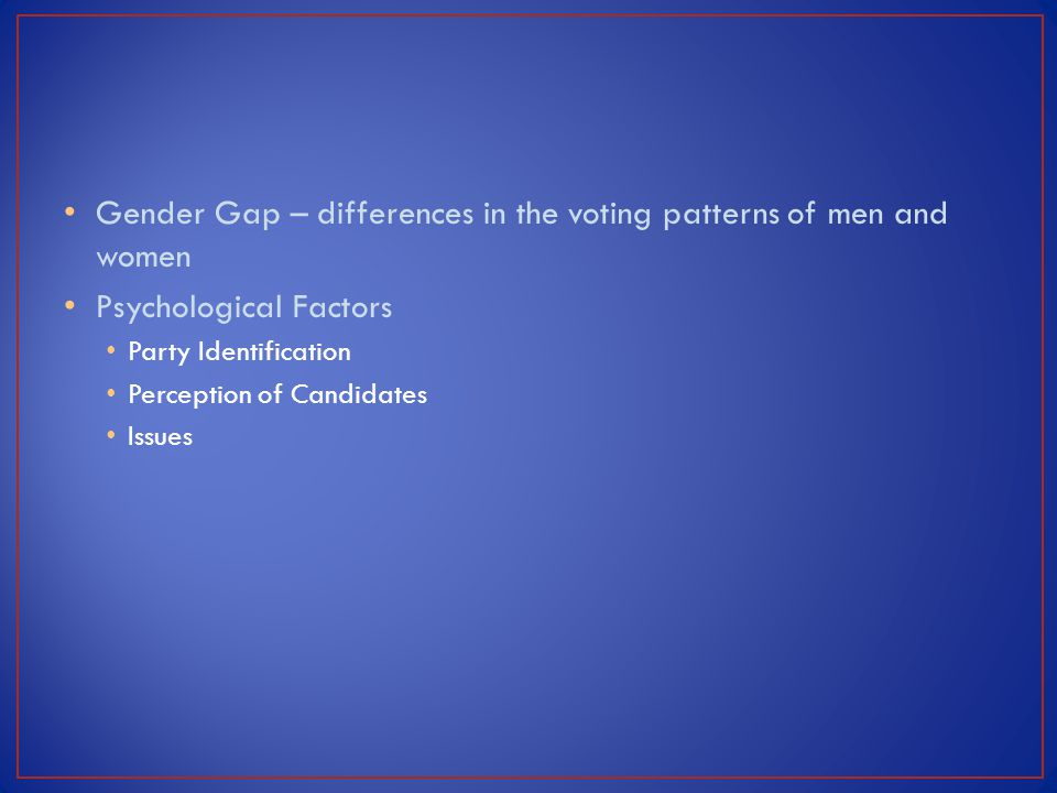 Gender Gap – differences in the voting patterns of men and women