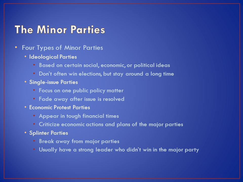 The Minor Parties Four Types of Minor Parties Ideological Parties