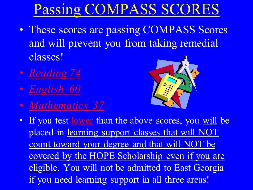 Passing COMPASS SCORES