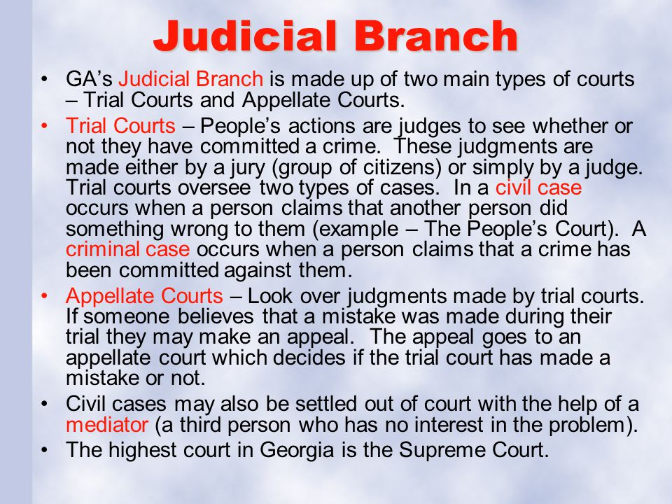 Judicial Branch GA's Judicial Branch is made up of two main types of courts – Trial Courts and Appellate Courts.