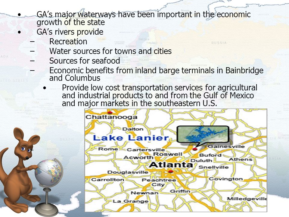 GA's major waterways have been important in the economic growth of the state