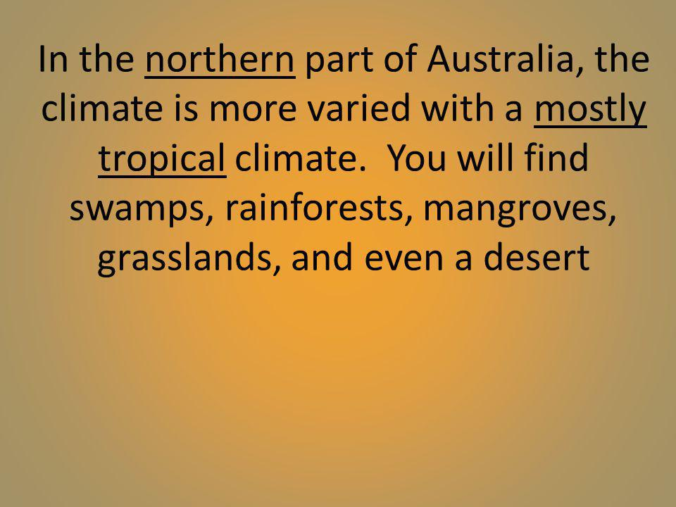 In the northern part of Australia, the climate is more varied with a mostly tropical climate.