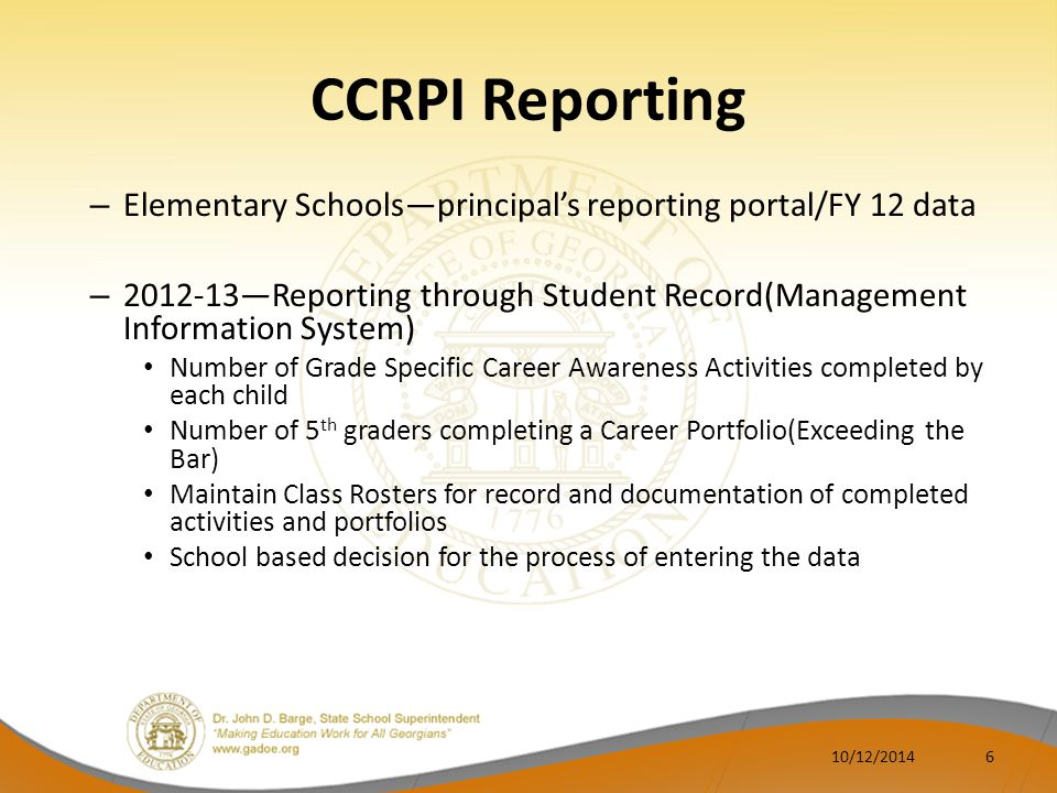 CCRPI Reporting Elementary Schools—principal's reporting portal/FY 12 data. 2012-13—Reporting through Student Record(Management Information System)