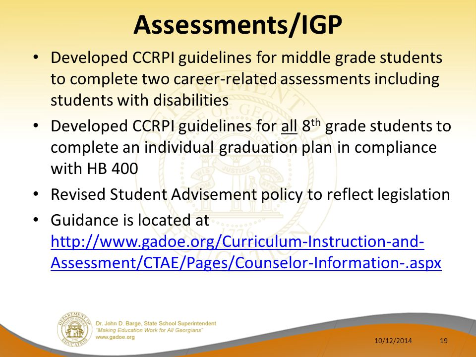 Assessments/IGP Developed CCRPI guidelines for middle grade students to complete two career-related assessments including students with disabilities.