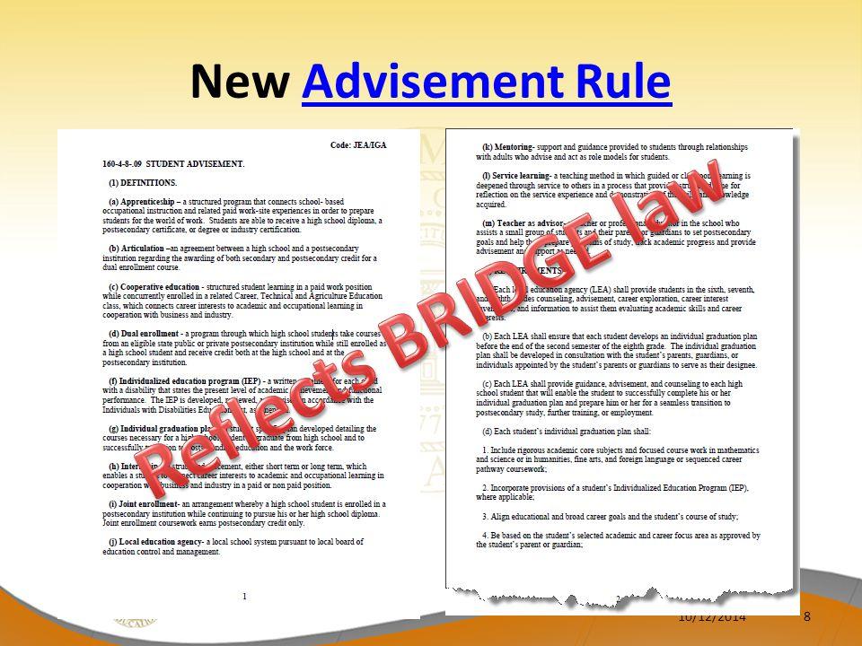 New Advisement Rule Reflects BRIDGE law 4/6/2017