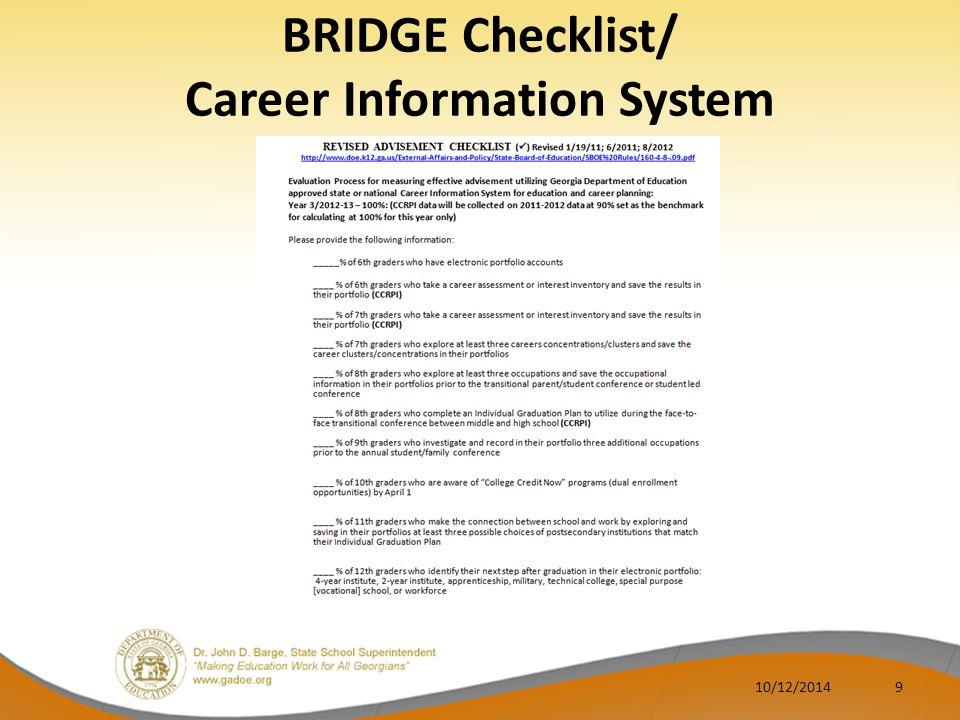 BRIDGE Checklist/ Career Information System