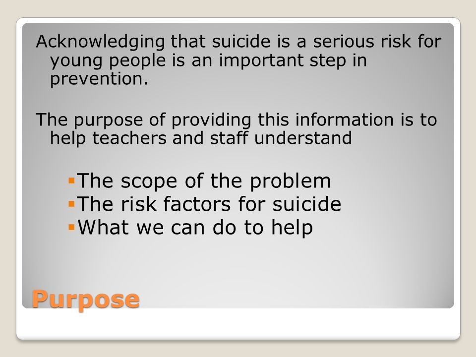 Purpose The scope of the problem The risk factors for suicide