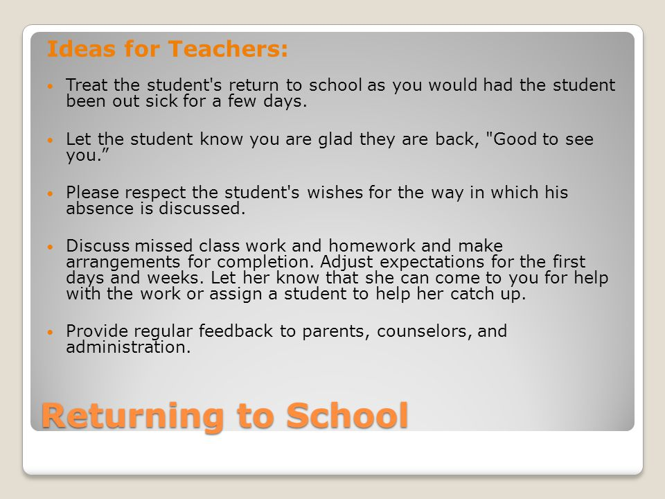 Returning to School Ideas for Teachers: