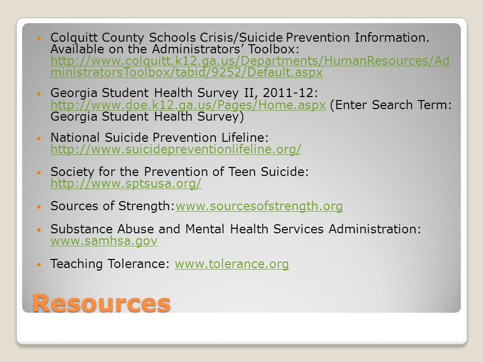 Colquitt County Schools Crisis/Suicide Prevention Information