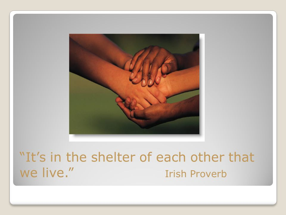 It's in the shelter of each other that we live. Irish Proverb